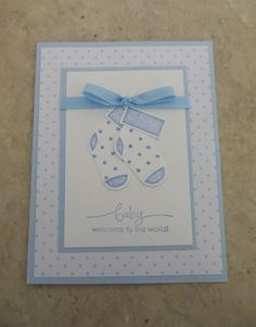 Handmade Rubber Stamping Baby Stocking Card for Boy or Girl - Finished Card with Envelope on Etsy, $3.00