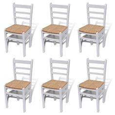 6 Rush Seat White Dining Chairs Wooden Kitchen Living Room Cafe Seats Furniture