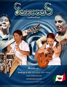 Latin Duo; Farrucas, focuses attention on distinctive Ecuadorian rhythms including: Aire Típico, San Juan, Bomba, Fox Incaico, and Danzante. Of course; when breaking boundaries, Farrucas also showcases Arabic elements throughout some of their original compositions, and features rhythms including Cumbia, Rumba Flamenco, Salsa, Ballads and Boleros. Laura & Jorge interpret and execute their own creations with a fusion of North and South American instruments.