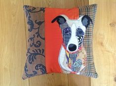 Sewing Cushions The place to find beautiful handmade individual cushions with appliqued animals. Antique recycled and new fabrics bring richness of texture to these textile artworks. Applique Cushions, Patchwork Cushion, Sewing Pillows, Wool Applique, Applique Quilts, Animal Cushions, Dog Cushions, Dog Quilts, Animal Quilts