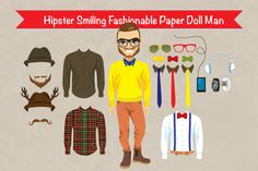 Check out Hipster Paper Doll Man Fashion by Kakigori Studio on Creative Market