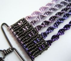 End of purple ombre macrame cuff showing cavendoli knotting and spirals