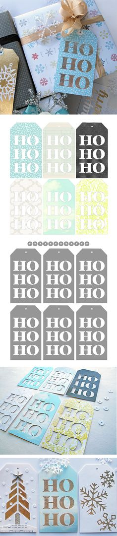 free 'Ho Ho Ho' Christmas tags - cutting files  printables #Silhouette #svg http://melstampz.blogspot.ca/2013/12/ho-ho-ho-gift-tags-free-cutting-files.html