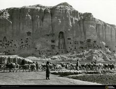 This 1931 photo of one of the giant Buddha statues in Bamiyan, Afghanistan, was taken by Maynard Owen Williams who worked for National Geographic. The Taliban, known for religious intolerance, destroyed it and another one similar in size in March 2001.