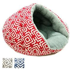 A soft and cozy designer burger dog bed to cuddle your pet for a sense of security unlike any other bed.