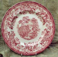 """Vintage Clarice Cliff Red Transferware """"Tonquin"""" Dinner Plate. $14.50, via Etsy."""