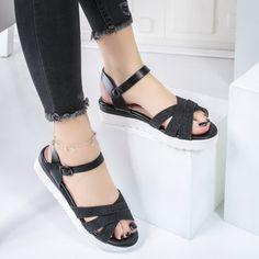 Sandale dama cu platforma negre Mireile