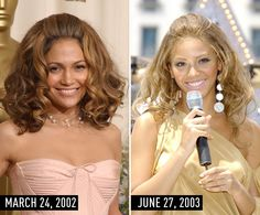 16. Big hair with brushed-back bangs, a neutral dress, and frosty pink lipstick.  J.Lo at the Academy Awards on March 24, 2002.  Beyoncé performing on The Early Show on CBS on June 27, 2003.  Definitive Proof Beyoncé Is OBSESSED With J.Lo's Style