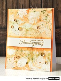 Watercolor background + embossed leaves + gold accents = one stunning Thanksgiving card