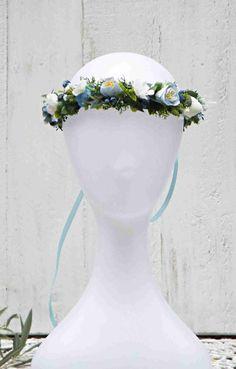 Blue Flower Crown Blue & Cream flowers blue garland Blue | Etsy Cream Flowers, Faux Flowers, Flowers In Hair, Dried Flowers, Purple Flowers, Blue Stain, Hair Wreaths, Different Flowers, Flower Crowns