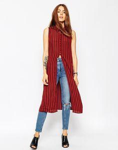 Imagen 1 de Blusa larga sin mangas en color tabaco con rayas negras de ASOS