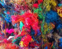 Multicolored sari silk waste. Magical vibrant colors. For spinning, roving, felting. Fibre art supplies.