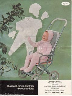 """Ladyship 4020 Quickerknit 21-24"""" Pram Set - Vintage Baby Knitting Pattern"""