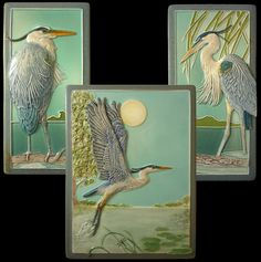 The Heron is a fully detailed, sculpted decorative ceramic tile. It faces the Great Blue Heron design I did earlier. The tile is Art Nouveau Tiles, Clay Tiles, Blue Heron, Decorative Tile, Triptych, Tile Art, Wall Sculptures, Ceramic Art, Fireplaces