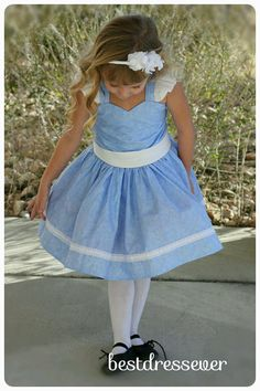 Blue Toddler Party Dress - Girls twirl Dress - Baby Blue Girl Outfit - Girls…