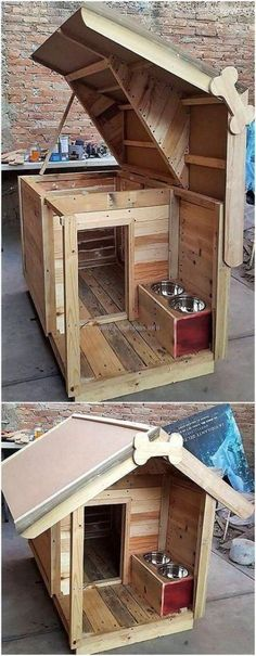 How To Build A Pallet Dog House This creative pallet dog house and feed shelter is what i call AMAZING!… How To Build A Pallet Dog House This creative pallet dog house and feed shelter is what i call AMAZING! Pallet Dog House, Build A Dog House, Dog House Plans, House Dog, Double Dog House, Small Dog House, Tiny Dog, Fun House, Building A Dog Kennel