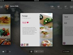 UI / foodie for IPad by Keenan Wells Ux Design, News Web Design, Gui Interface, User Interface Design, Card Ui, Tablet Ui, Mobile Ui Design, Ui Design Inspiration, Application Design