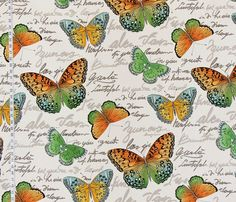 Butterfly fabric French script orange blue green from Brick House Fabric: Novelty Fabric