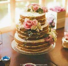 Wedding Cake Roses, Wedding Cakes, Cake Recipes To Impress, Bolo Nacked, Bolos Naked Cake, Moon Wedding, Ice Cream Cookies, Cake Toppings, Pretty Cakes
