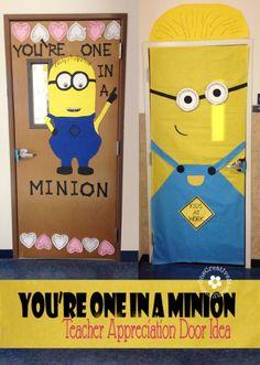 One In a Minion Teacher! {Teacher Appreciation Door Idea} OneCreativeMommy.com