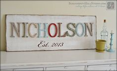 Family name sign, typography custom made to order, wood wall letters, home decor, surname art