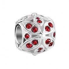 // Add elegance and sparkle to your bracelet or necklace with this stunning Chamilia accent charm in sterling silver with an intricate pattern of Moonlight Swarovski Crystals in Light Siam (red). Material: Sterling Silver, Crystals and Stones Chamilia Jewelry, Accent Colors, Color Accents, Custom Jewelry, Moonlight, Swarovski Crystals, Wedding Rings, Charmed, Jewels
