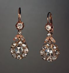 Antique Rose Cut Diamond Dangle Earrings - Russian Antiques & Pre-1917 Faberge Antique Jewelry