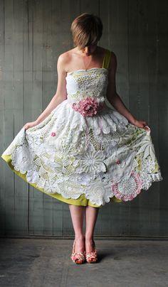 Handmade, vintage doily wedding dress found at Garage 34 for Hitched Handmade