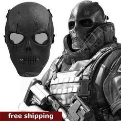 Skull Skeleton Airsoft Paintball Full Face Protect Mask Shot Helmets Foam padded inside Black eye shield Full Cover