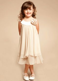 Charming Champagne Double Layered Flower Girl Dress With Bow at Shoulder