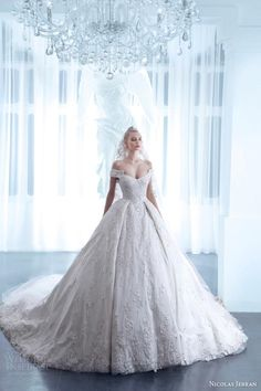 Luxury Ball Gown Wedding Dresses Off The Shoulder Nicolas Jebran 2015 Spring Flower Bridal Gowns Church Train Custom Made Wedding Dress from Yateweddingdress,$339.58 | DHgate.com