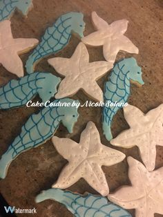 Beach themed bridal shower cookies