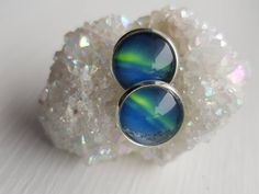 Earrings with real photo of northern lights from Andøya, Norway. Photo is glued with glass tile on top. Star Photography, Nature Photography, Holidays In Norway, Types Of Rings, Yellow Flowers, Earrings Handmade, Northern Lights, Cufflinks, Gemstone Rings
