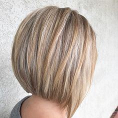 A-line stacked bob haircut. Highlights and Lowlights.