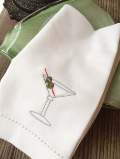 Martini Drink Cocktail Embroidered Cloth Napkins, Set of cocktail napkins, cloth cocktail napkins, martini gift, party napkins Monogrammed Napkins, Custom Napkins, Personalized Napkins, Printed Napkins, Linen Napkins, Cloth Napkins, Party Napkins, Cocktail Napkins, Napkins Set