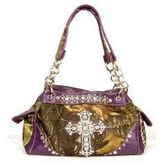 Western Purple Camouflage Cross Rhinestone Handbag In Stock $45
