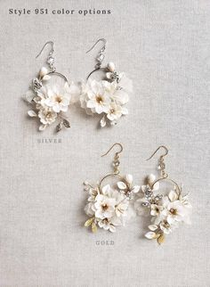 Clay flower circle earrings - Creamy blossom and silk flower earrings - Style #951 | Twigs & Honey ®, LLC