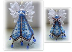 A design by Paula Adams. Beaded Christmas Ornaments, Angel Ornaments, Christmas Jewelry, Christmas Angels, Angel Crafts, Holiday Crafts, Seed Bead Crafts, Beaded Angels, Beads And Wire