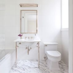 """So excited to share with y'all this gorgeous white marble bathroom we just finished! Go read about it on @dominomag today and also get some great tips for designing your own WMB! Link in profile* #KMIxDomino"" Photo taken by @kapitomullerinterior on Instagram, pinned via the InstaPin iOS App! http://www.instapinapp.com (03/27/2015)"