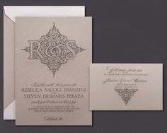 Our Taupe invitation is shown here engraved in charcoal ink.