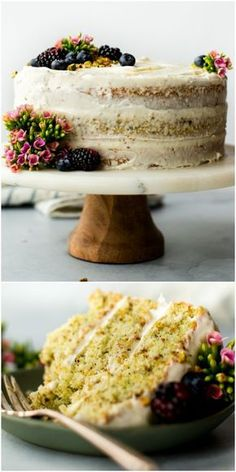 Pistachio cake from scratch with real pistachio and almond extract flavors! Nothing fake or artificial in this beautiful 3 layer pistachio cake. This rustic chic naked cake is adorned with silky cream cheese frosting! Recipe on sallysbakingaddic. Brownie Desserts, Mini Desserts, Just Desserts, Delicious Desserts, Dessert Recipes, Coconut Dessert, Oreo Dessert, Pistachio Dessert, Homemade Pistachio Cake Recipe
