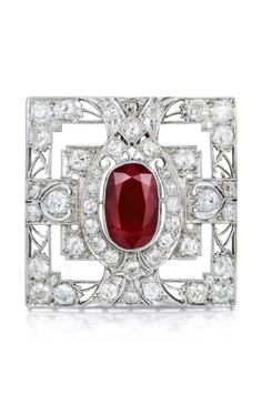 Buy online, view images and see past prices for Art Deco Ruby and Diamond Platinum Pendant/Brooch. Invaluable is the world's largest marketplace for art, antiques, and collectibles. Red Jewelry, Art Deco Jewelry, Sea Glass Jewelry, Diamond Jewelry, Antique Jewelry, Vintage Jewelry, Fine Jewelry, Jewelry Design, Jewelry Rings
