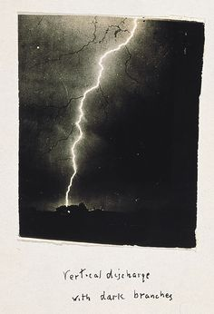 William N. Jennings, Vertical discharge with dark branches, 1890 [ Black-branched Lightning] by William N. Jennings. From George Eastman House