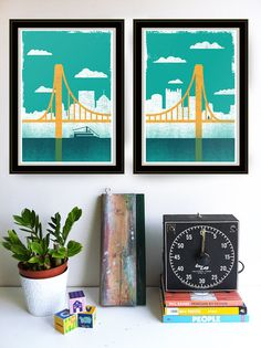 Pittsburgh, City of Bridges, Diptych: Prints 1 & 2    Hand screen printed 2 print set    We love Pittsburgh, pretty hardcore. One of the most