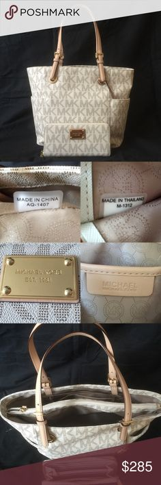 AUTHENTIC MICHAEL KORS JET SET AND WALLET AUTHENTIC MICHAEL KORS JET SET AND WALLET  Bought in Macy's. Spent almost $400. Used only like 2weeks very Gently. Excellent condition-like new. No stains, scratches or tears. Michael Kors Bags Shoulder Bags