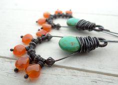 Boho Dangle Earrings // orange carnelian by LostSparrowJewelry nice wrap design