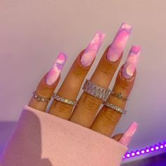 """ELIZE STAR on Instagram: """"💕 MARBLE OR TIE-DYE 💕  What do you see? Inspo @katiealice_nail_design  . . . .  .…"""" Bling Acrylic Nails, Acrylic Nails Coffin Short, Summer Acrylic Nails, Best Acrylic Nails, Coffin Nails, Acrylic Nails Kylie Jenner, Gel Nails, Glitter Nails, Edgy Nails"""
