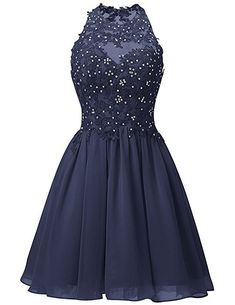 52a50590899 Dresstells® Short Chiffon Halter Neck Prom Dress With Appliques Homecoming  Dress