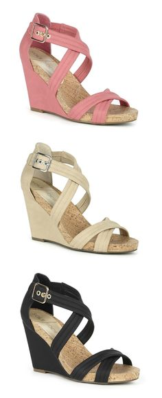 Beautiful strappy wedge sandals with a comfortable cork platform & gold-toned hardware. Perfect for spring & summer.