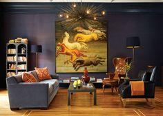 colors: dark blue, soft grey, rust, cognac leather. by Geoffrey De Sousa